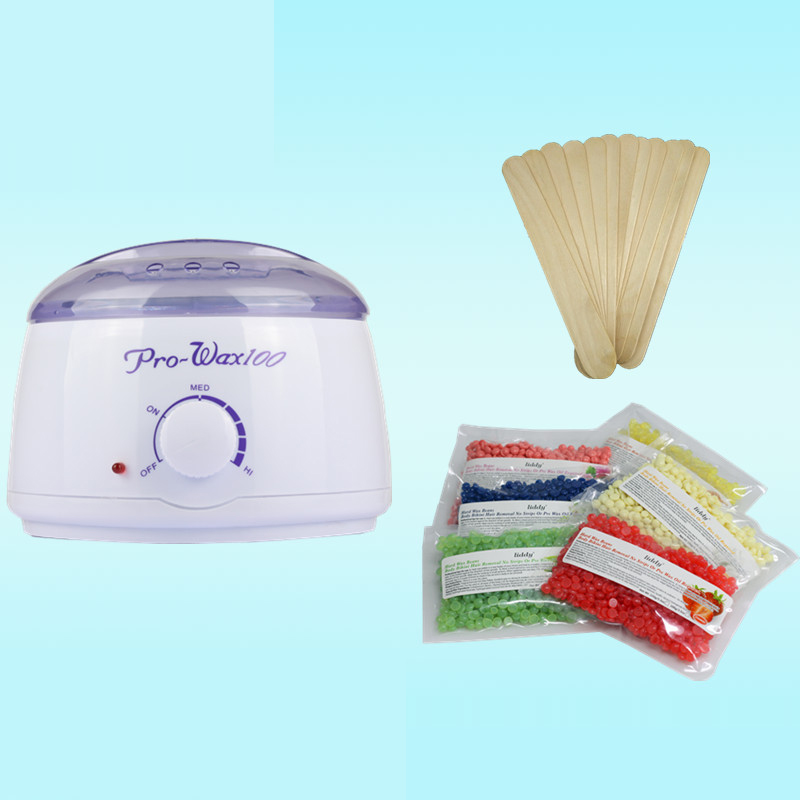 1 Set Pro Body Hair Removal Waxing Depilatory Cream Wax Heater Machine 100g Wax Beans 20pcs