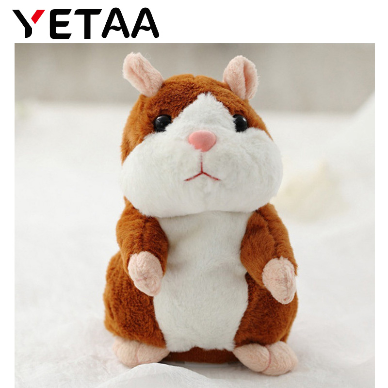 YETAA hablando Sound Record Hamster dulce animales Hamster juguetes para niños de peluche y felpa animales cariño Juguetes
