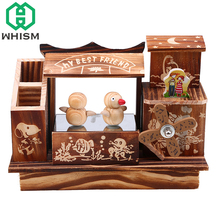 WHISM Musical Boxes Wooden Music Box Wood Windmill Craft Retro Birthday Gift Vintage Home Decoration Accessories