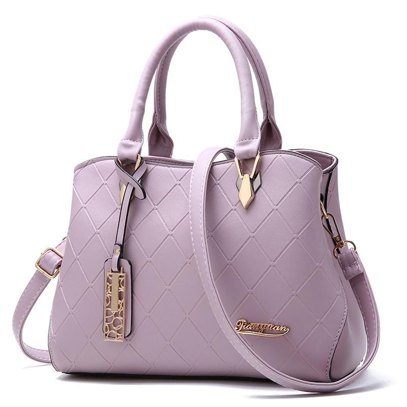 Female bag 2019 New fashion lady Messenger bags simple design generous rhombus pattern soft leather women Shoulder bag Handbag
