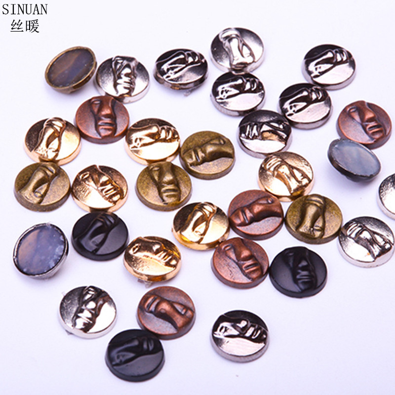 Iron on Copper Bronze Round Spikes Studs Adhesive Flatback Rivets 8 mm
