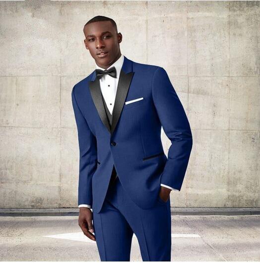 Venta al por mayor azul marino novio Esmoquin negro solapa juego por  encargo del hombre traje para boda Delgado traje Blazers (chaqueta +  Pantalones) en ... e41fc769171