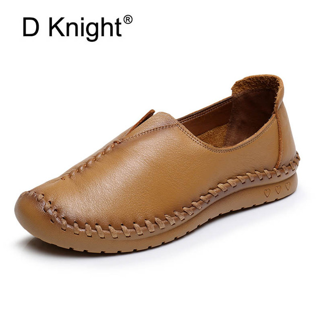 de4249e9ebe Brief Style Loafers Women Handmade Flat Shoes Genuine Leather Leisure  Ladies Shoes Soft Sewing Woman Causal
