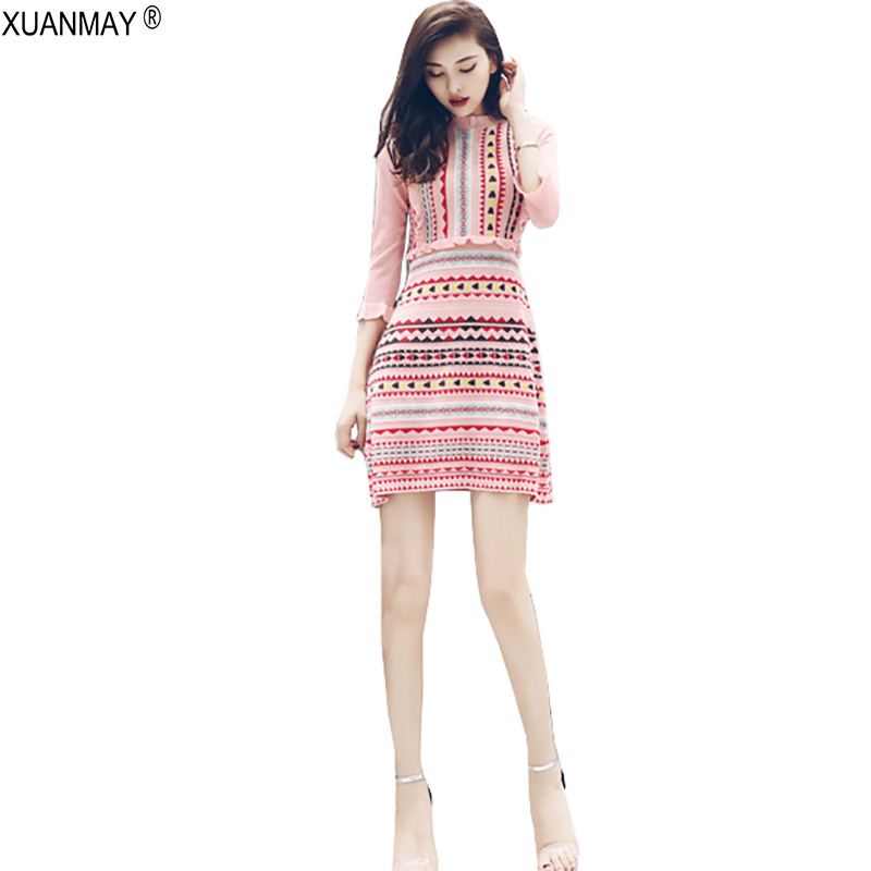 2018 Autumn Dress Sweater Stretch Love Pattern Of Knitted Jacquard Bohemia Sweater Dress Fashion Streetwear Pink Knit Dress