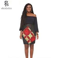 African Ankara Print Mini Short Skirt for Women Black Knitting and Wax Fabric Splice( Wax Print is Random)