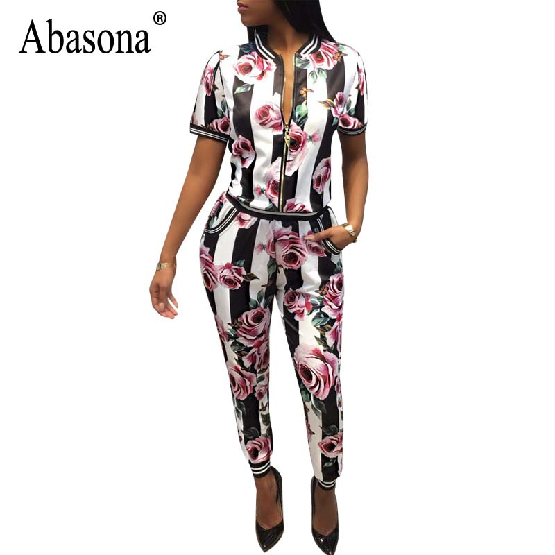 Abasona Jumpsuits Women Two Piece Set Roses Print Short Sleeve Women Bodycon Rompers Womens Jumpsuit Sexy Female Outfits Overall