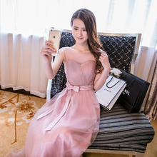 Cheap Pale Pink Bridesmaid Dresses Long Soft Tulle 6 Different Styles Real Image Maid of Honor Girl Dresses For Bridesmaid