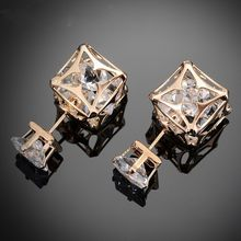 Hot Sale Hollow Ball Double Face Stud Earrings For Women 7mm Square Cut Cz Crystal Earrings Gold Color Jewelry C4S1207(China)