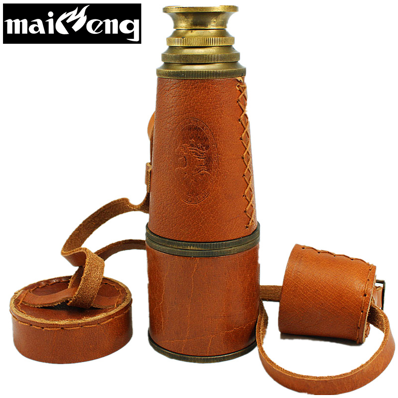 Vintage Pirate Monocular High-grade Pure Copper Telescope Powerful  Binocular Monocular with Leather Bag for Interest Collection