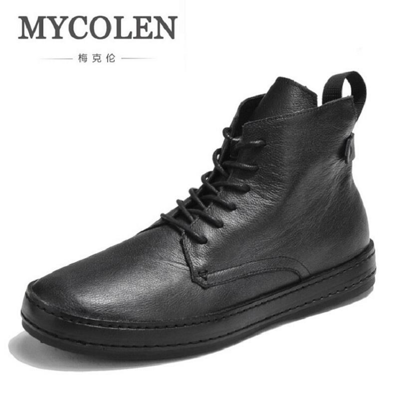 MYCOLEN Street Style Men Sneakers High-Top Winter Shoes Male Leather Men's Comfortable Lace up Casual Shoes Chaussures Hommes gram epos men casual shoes top quality men high top shoes fashion breathable hip hop shoes men red black white chaussure hommre
