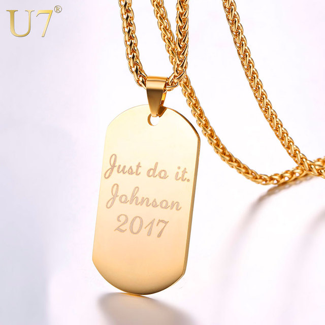 U7 Personalized Dog Tag Necklace Wedding Date Name ID Men Jewelry