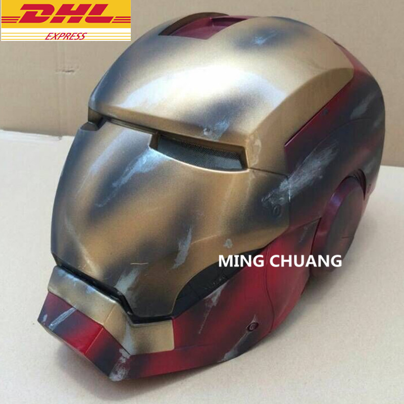Avengers Infinity War Superhero MK7 Iron Man Helmet 1:1 (LIFE SIZE) Wearable Computer With LED Light Action Figure Toy D312 avengers iron man helmet wearable computer tony stark cosplay mask with led light war damage version for children model toy