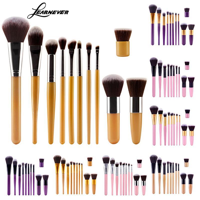LEARNEVER 11Pcs Pro Makeup Brushes Cosmetic Eyeshadow Blusher Face Powder Foundation Brush M02245 new arrive makeup brush face powder blusher toothbrush foundation oval brushes cosmetic tool