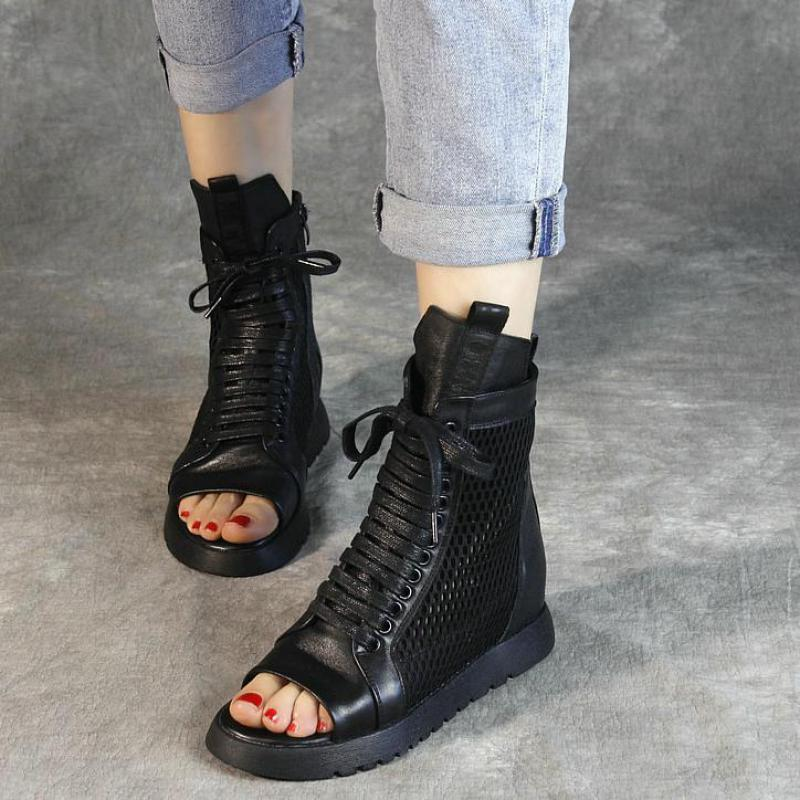 Women Leather Gladiator Sandals Boots Peep Toe Wedges Shoes Summer Black Motorcycle Boots Genuine Leather Handmade Shoes 2019Women Leather Gladiator Sandals Boots Peep Toe Wedges Shoes Summer Black Motorcycle Boots Genuine Leather Handmade Shoes 2019