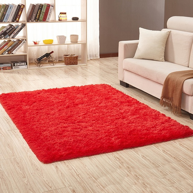 Living Room Red Carpet European Fluffy Mat Kids Room Rug Bedroom Mat ...