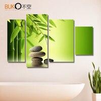 4 pçs/set ainda pintura da vida e formas de bambu de vertical pedra Imprime Fotos para imagem sala pintura da lona Moderna amarelo