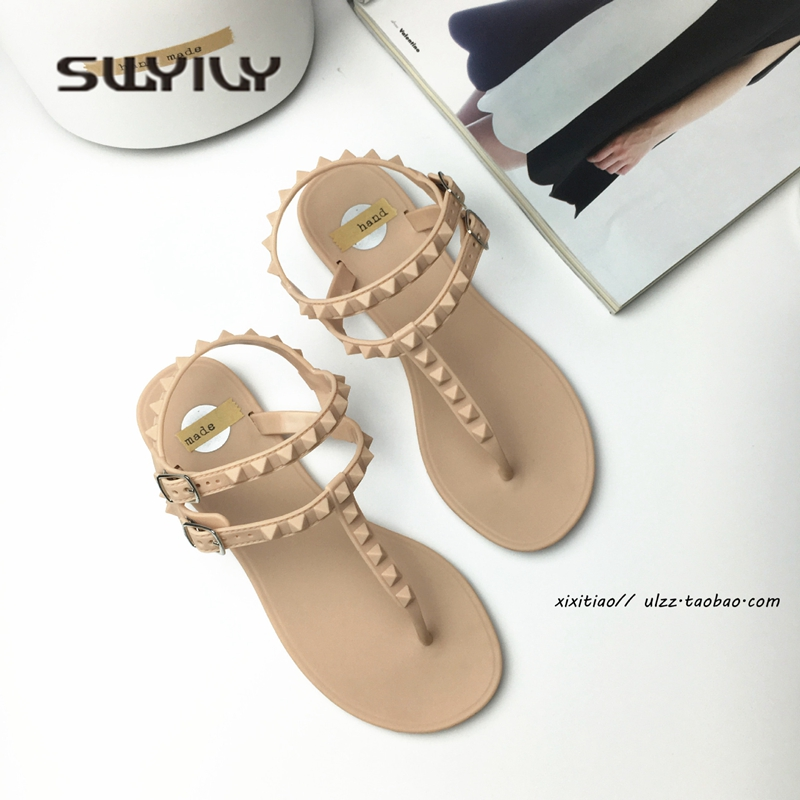 SWYIVY Women Sandals Flip Flop T Strap 2018 Rivet Fashon Woman Holiday Beach Casual Shoes Sandals Flat Comfortable Jelly Shoes