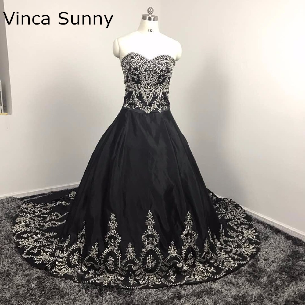 Sexy Long Evening Dress Vestido De Festa 2019 Strapless Sweetheart embroidery Luxury Real Photo Black Long Prom Gown