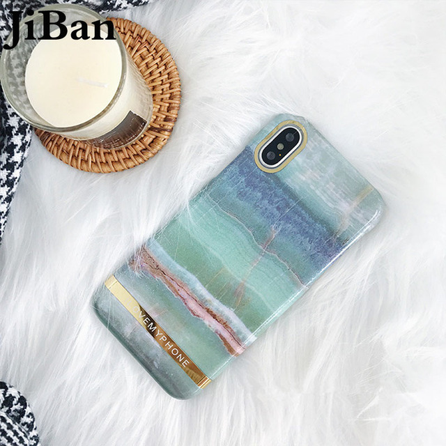 on sale 4d09a 819f0 US $6.99 |JiBan For iphone X Luxury Marble Gold Bar Phone Case Fashion  Granite Stone Texture Cover Hard Cases For iphone 6s 7 8 Plus Capa-in  Fitted ...