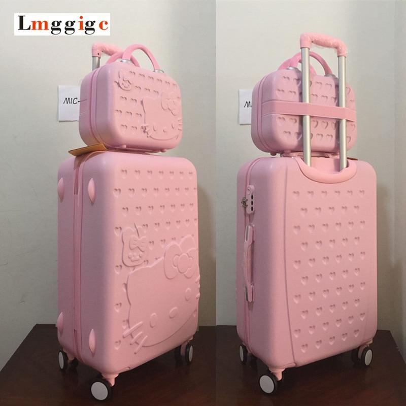 MIC 20 22 24 26 28 inch Pink Hello Kitty font b Luggage b font Set