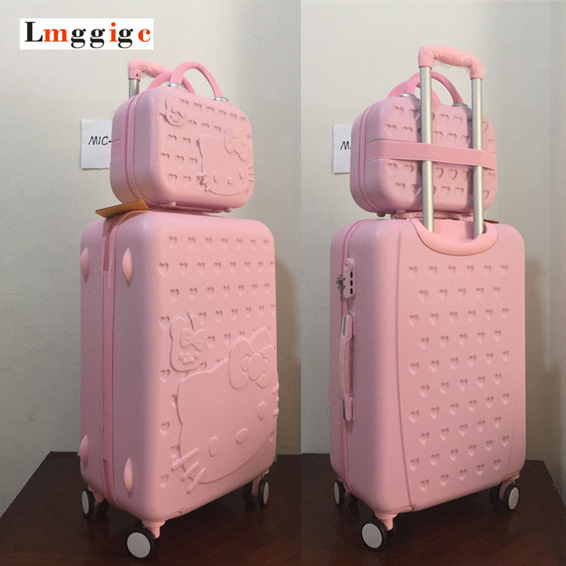 "MIC 20""22""24""26""28""inch Pink Hello Kitty Luggage Set,Children Women KT Suitcase,ABS Cartoon Travel Box,Rolling Trolley Hardcase"
