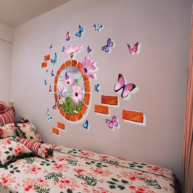 Superbe [SHIJUEHEZI] 3D Butterflies Flower Wall Stickers Little Daisy Home Decor  For Living Room Kids