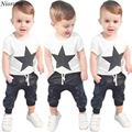 Niosung  New 1Set Toddler Baby Boys Outfit Clothes Printed Short Sleeve T-shirt Tops+Long Pants Trousers Kids Child Clothing s