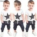 Niosung Nuevo 1 Unidades Toddler Baby Boys Outfit Ropa de Manga Corta Impresa Camiseta Tops + Pantalones Largos Pantalones Niños Niño ropa de s