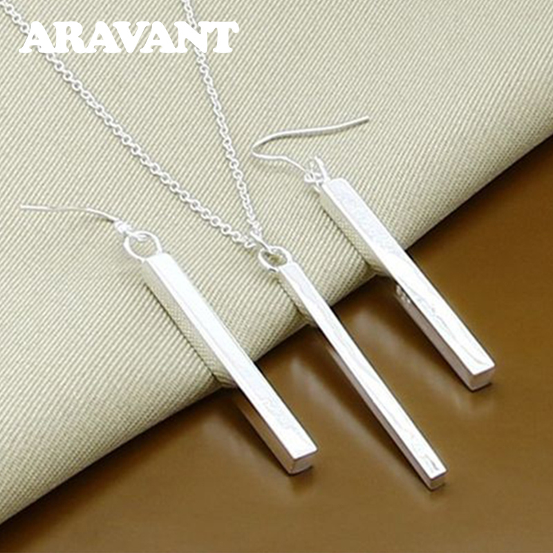 Silver 925 Jewelry Sets Square Column Necklaces Drop Earring For Women Fashion Jewelry Set