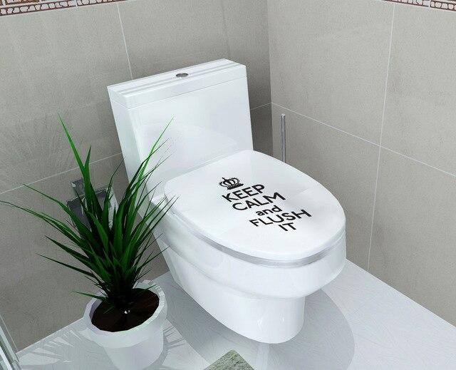 Waterdichte diy houd kalm en flush het vinyl wc muurstickers
