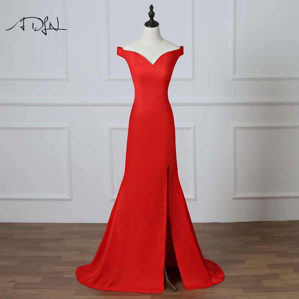 8c27e21f135 ADLN пикантные красные вечерние платья с боковыми разрезами  Off-the-shoulder Длинные вечерние платье