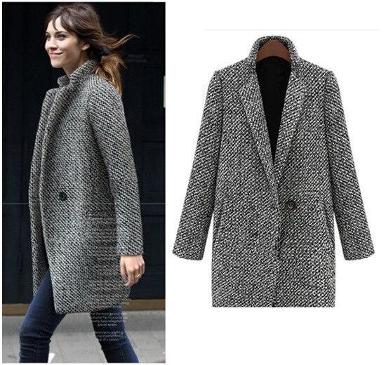 Vintage Kadın Sonbahar Uzun Coat Parka Ceket Rahat Yün Karışımları Yaka Dış Giyim Yutmak Gird Patchwork Ekose Baskılı Artı Boyutu 4xl