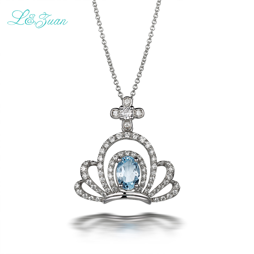 I&Zuan Romantic Crown Design 925 Sterling Silver Pendants Necklaces For Women Natural Topaz Blue Stone Fine Jewelry For Princess