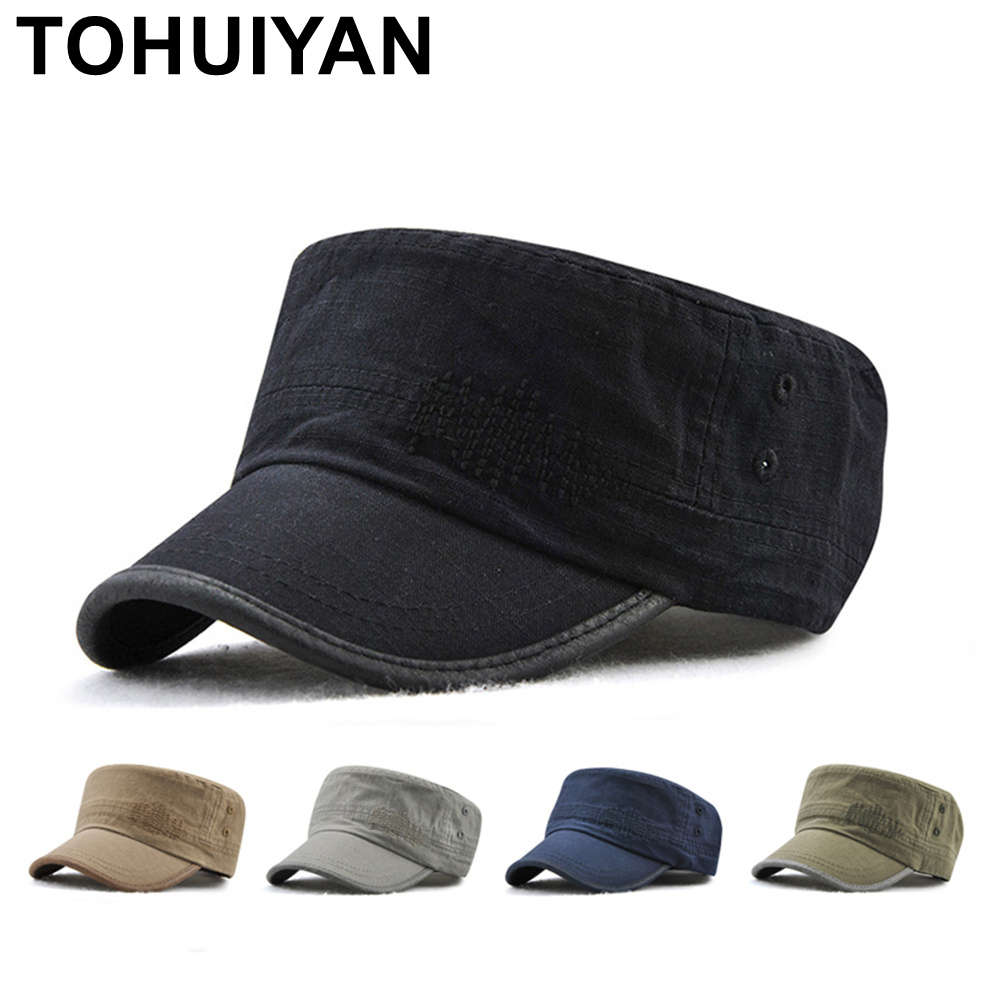 TOHUIYAN Men Women Military Style Cadet Army Cap Solid Color Washed Cotton  Flat Top Caps Brand Adjustable Bone Golf Visor Hats 2989d8616a1