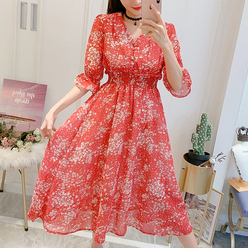 Shop For Cheap White Women Chiffon Half Sleeve 2019 New Summer Dress Chopped Flower Dress V-collared Bohemian Chiffon Flower Print Dress 317c3 To Clear Out Annoyance And Quench Thirst Women's Clothing