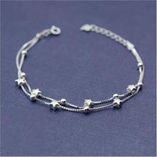 Женский многослойный браслет из серебра 925 пробы с пятиконечной