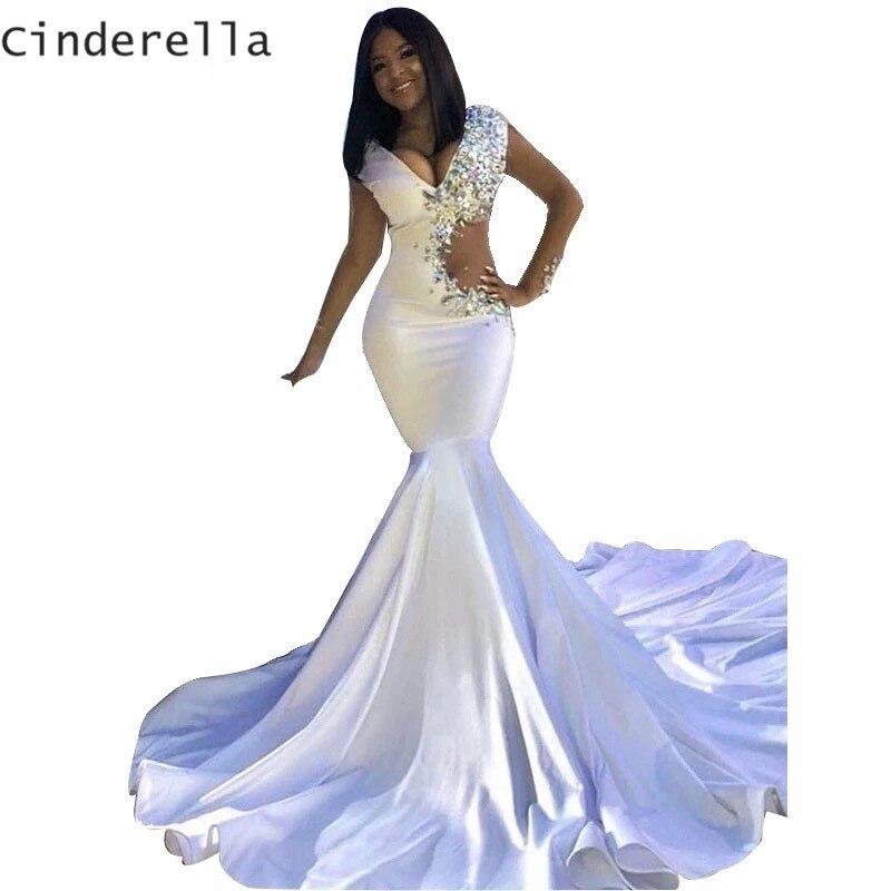 Cendrillon Sexy col en v sans manches cristal perles Court Train sirène Satin robes de soirée longue robe de soirée robes de soirée