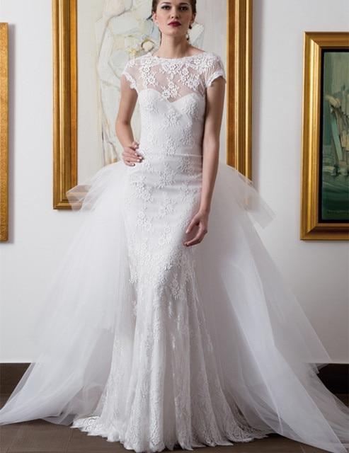 New Design mermaid Wedding Dresses Detachable Train Lace O neck ...