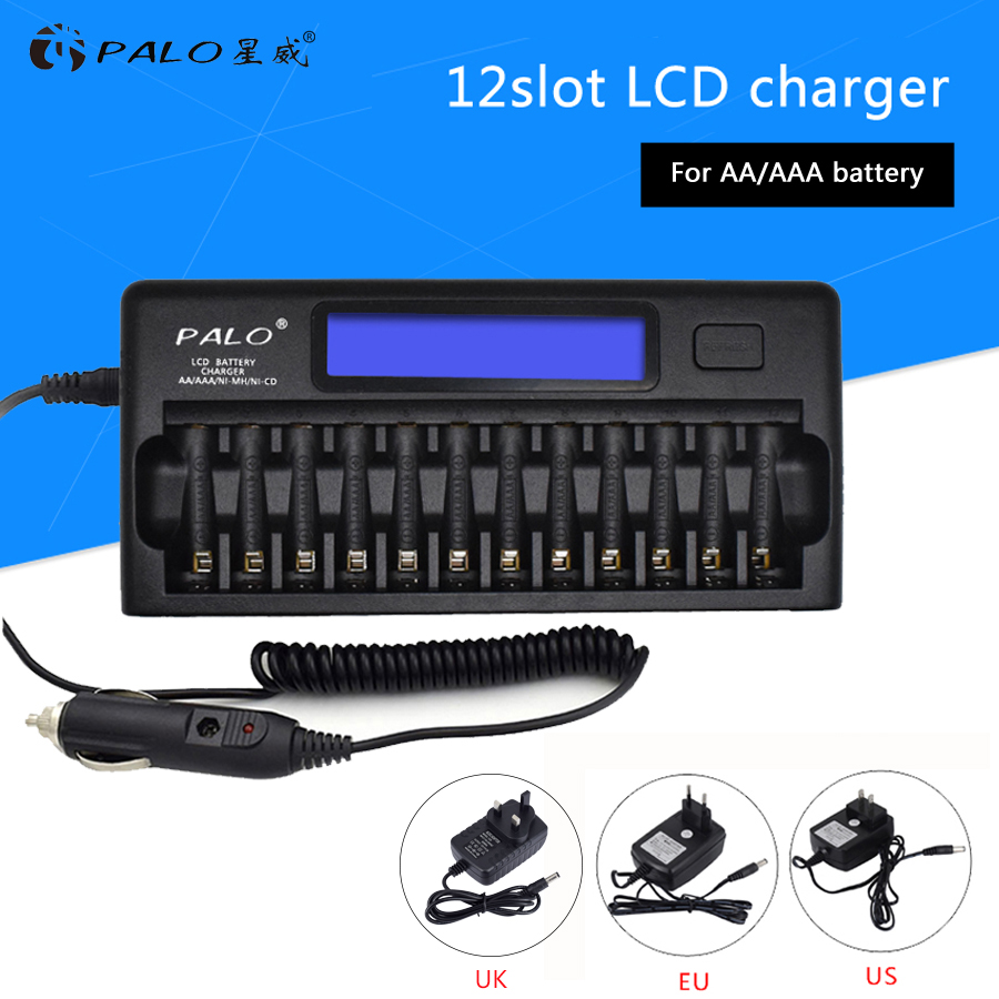 PALO 12 slots Smart Quick LCD Display Battery Charger For AA AAA NI-MH NI-CD Rechargeable batteries Use With Car Charger palo 8 slots battery charger nc09 with indicator for aa aaa ni mh ni cd rechargeable battery 8pcs aa rechargeable batteries