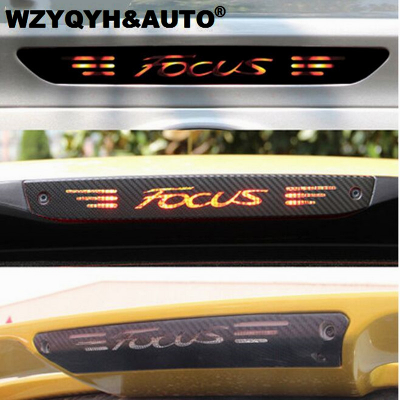 Carbon Fiber Stickers And Decals High Mounted Stop Brake Lamp Light Car Styling For Ford Focus 2 3 MK2 MK3 2005-2017 Accessories carbon fiber stickers and decals high mounted stop brake lamp light car styling for suzuki swift additional brake light sticker
