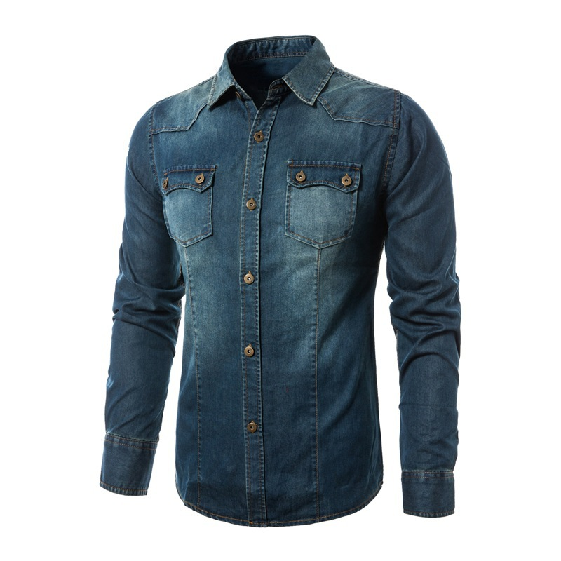 In the autumn of 2018 the new mens denim shirt Cultivate ones morality more pockets long sleeve shirts ...