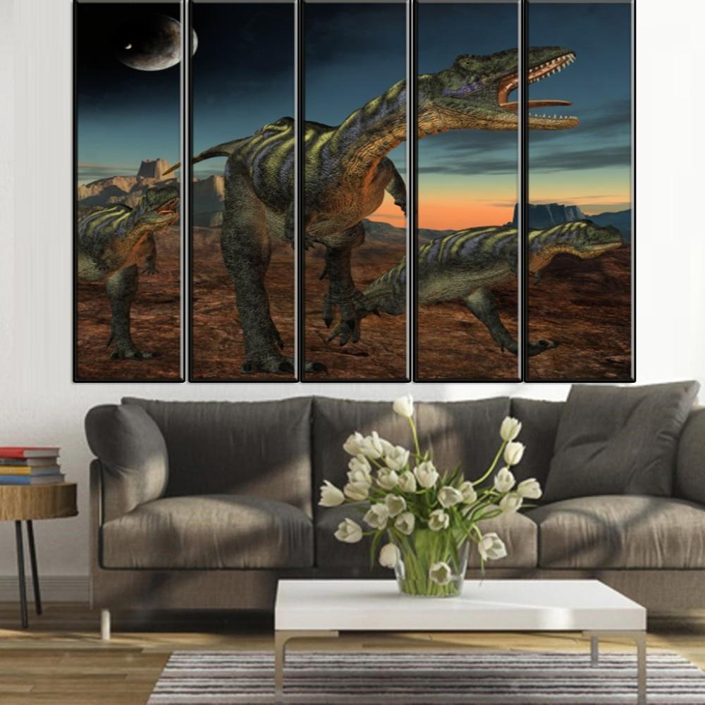 5 unidades (sin Marcos) dinosaurio en la Luna animal moderna pintura ...