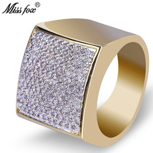 HOT!!! Hip Hop Square 18k Gold Rings Men Luxury Brand Quality Micro Pave Cubic Zirconia Mens Trendy Wedding Bulgaria Ring