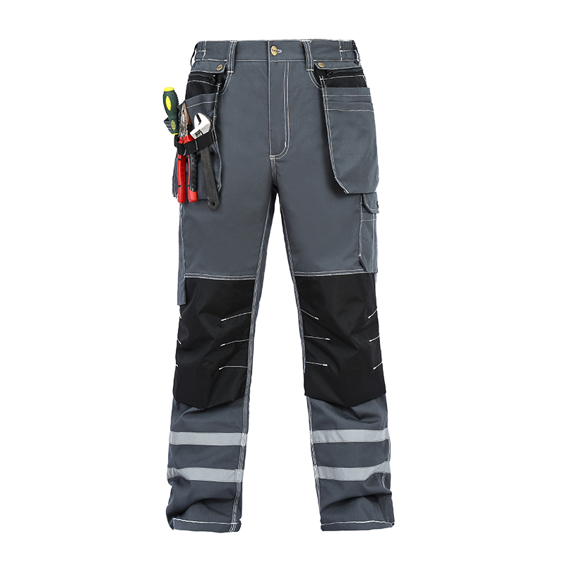 Men Working Pants Reflective Strip Multi-pockets Work Trousers With Knee Pads Wear-resistance Workwear Safety Mens Cargo Pants
