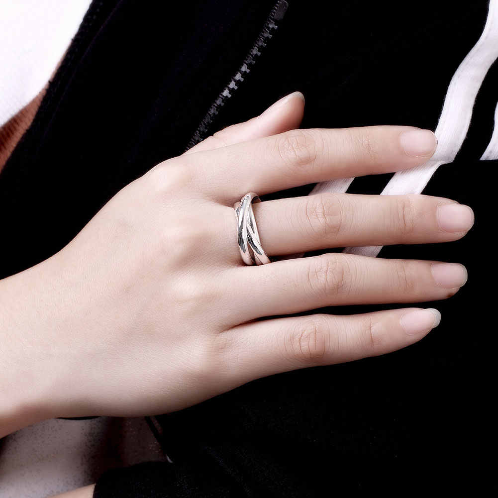 Christmas Gift Wholesale Mens Silver Ring Fine Fashion  Jewelry Three Circles Rings For Women Top Quality