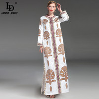High Quality New 2017 Fashion Runway Maxi Dress Women S Long Sleeve Casual Loose Luxury Beading