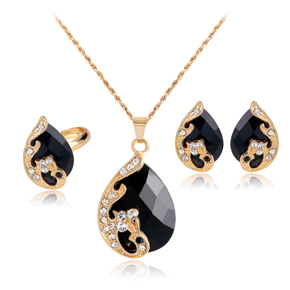 Crystal Waterdrop Wedding Jewelry Sets Bridal Jewelry Set For Women Jewellery Set Necklace Earring Ring Wedding Decoration