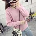 El nuevo invierno suéter flojo camisa del todo-fósforo flojo de manga corta de punto vestido de Suéter Coreano