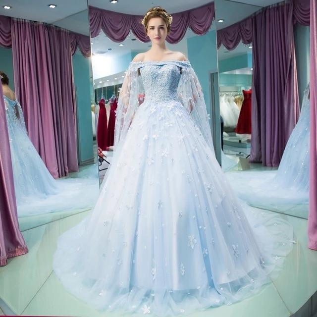 Light Blue Wedding Dress | Vestido Noiva Vintage Light Blue Wedding Gown Robe De Mariee