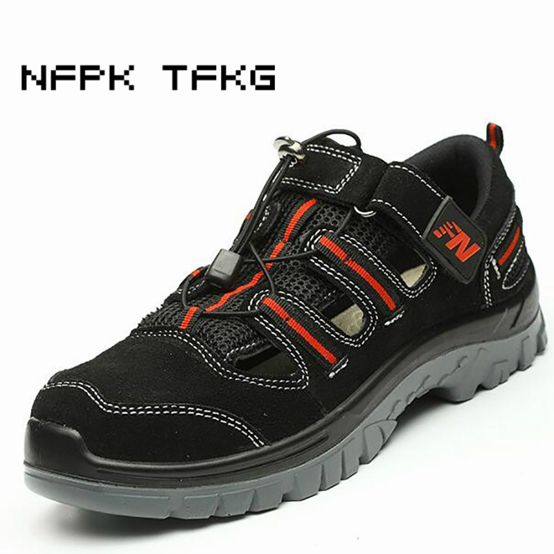 large size mens casual steel toe cap working safety summer shoes soft cow leather sandals puncture
